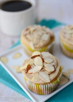 Almond Cupcakes with Caramel Buttercream www.crazy for crust.com