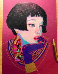 The Red glitter girl. on Behance Illustrations And Posters, Pretty Art, Art Plastique, Portrait Art, Aesthetic Art, Oeuvre D'art, Traditional Art, Japanese Art, Love Art