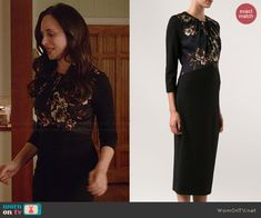 Victoria's black floral panel  dress on Revenge.  Outfit Details: http://wornontv.net/43550/ #Revenge