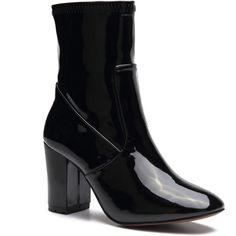Yoins Black Patent Leather Chunky Heels Short Boots with Zipper Design ($49) ❤ liked on Polyvore featuring shoes, boots, ankle booties, black, short boots, zip ankle boots, chunky heel ankle boots, black ankle boots and black bootie