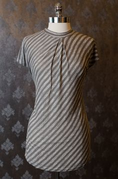 High Neck Soft Feel Shirt with grey stripes