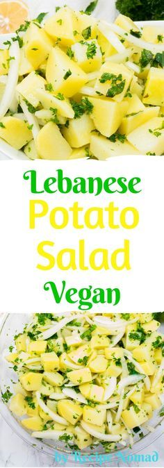 I love that Vegan Lebanese Potato Salad is vegan, busting with fresh mint, parsley and lemon flavor and can be made a full day ahead of time- perfect for potlucks! Vegan Lebanese Potato Salad (Salatat Batata) | Recipe Nomad http://www.recipenomad.com/vegan-lebanese-potato-salad/