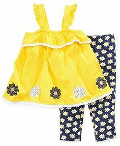 Kids Headquarters Baby Girls' 2-Piece Daisy Tunic  Printed Leggings Set