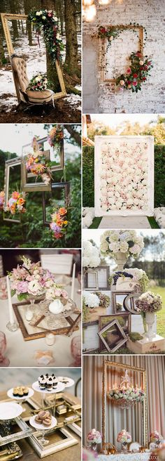 vintage photo frame wedding decoration ideas: There are many creative DIY ideas for a vintage wedding. For instance, we can easily use some old and vintage photo frames to DIY a stylish hanging photo frames decor with pearls and flowers, vintage.