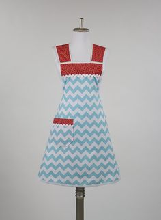 Cooking Apron Aqua Blue Chevron Zig Zag Red and by TerraceHill (I think you need this @BeckyKay !)