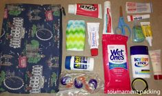 Tournament packing, hockey mom bag essentials or, one for the players with laces, mouthguards, tape, ice pack, bandaids.