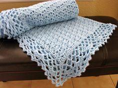 Crochet Baby Blanket, blue baby blanket, crochet baby afghan - lace, shell, blue