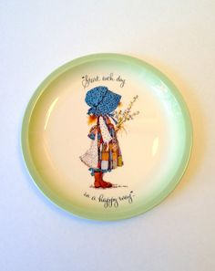 """Vintage Holly Hobbie Collector's Edition Plate That Reads """"Start Each Day In A Happy Way"""" by GodsofVintage"""