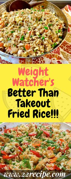 Weight Watcher's Better Than Takeout Fried Rice – One of food - Health Recipes Skinny Recipes, Ww Recipes, Cooking Recipes, Healthy Recipes, Skinny Meals, Healthy Dinners, Healthy Options, Weight Watchers Shrimp, Weight Watcher Dinners