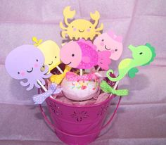 sea creatures baby girl | Under the Sea Creature Cupcake Toppers Girl by LillabugsPartyPlace, $7 ...