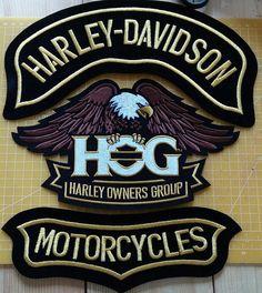 Nouveau ensemble Harley Davidson aigle hog H.O.G. patches Aigle de 10 pouces. 3PSc.