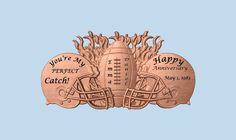 ANNIVERSARY Gift for Couples ~ You're My PERFECT Catch!  Anniversary Gift Football ~ Unique Wood Anniversary Gifts by TheWoodGrainGallery - pinned by pin4etsy.com