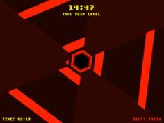 Hexagone   http://www.terrycavanaghgames.com/hexagon/    Une ambiance sonore électro, 3 touches à utiliser, combien de temps allez-vous éviter les obstacles ? épileptiques s'abstenir !  (A partir de 10 ans)