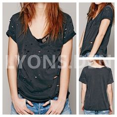 """FREE PEOPLE SHREDDED DESTROYED TOMMY TEE WASHD BLK FREE PEOPLE DESTROYED TOMMY TEE #31584329 MSRP $58.                                                       -NEW WITHOUT TAGS.  NEVER WORN.                  -OVERSTOCK ITEM, LINE THRU BRAND LABEL       -COLOR: WASHED BLACK                                   -SIZE XS (18"""" PIT-PIT, 36"""" BUST, 24"""" NECK-HEM) Free People Tops Tees - Short Sleeve"""