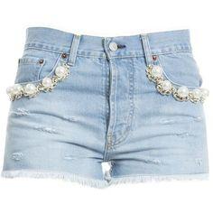 Light Blue Cotton Shorts (3.990 CZK) ❤ liked on Polyvore featuring shorts, bottoms, denim, jeans, light blue, womenclothingjeans, light blue shorts and blue cotton shorts