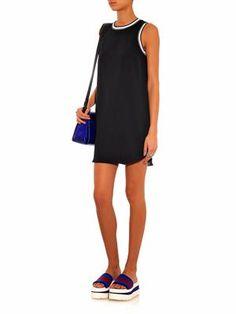 Vivi contrast-trim crepe dress