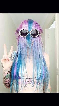 Pastel hair lavender , blue artic fox color Pastel Lavender Hair, Pastel Hair, Lavender Blue, Artic Fox Hair, Punk Rock Fashion, Scene Hair, Rock Style, Hair Inspiration, Salons