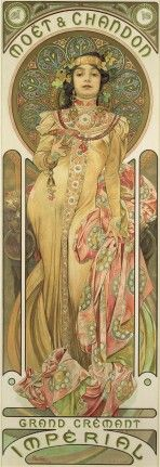 A brunette with a high-necked embroidered dress and ornate jewellery holds a glass of champagne. She is framed by a decorative halo in golds and blues and leans on a rich pink fabric which ruffles at her feet. The words 'Moët Chandon' feature at the top of the poster, and 'Grand Crémant Impérial' at the bottom.