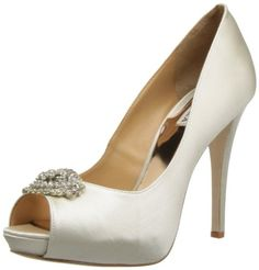 Badgley Mischka Women's Goodie Peep-Toe Pump. beautiful satin finish. They look (and are) very expensive shoes.