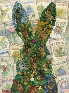 Laura Ramie | Illustration. All of the seed packets are names of the rabbits from Watership Down. Very clever.
