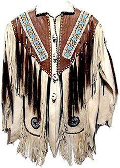 MSHC Western Cowboy Mens Fringed Suede Leather Jacket D7 V3 XXS-5XL Camel Brown
