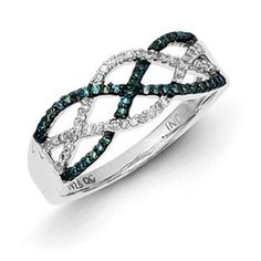 Sterling Silver 1/4 Carat Blue White Diamond Weave Ring Available Exclusively at Gemologica.com