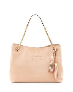 V25Y3 Tory Burch Thea Patent Chain-Strap Shoulder Bag, Light Oak