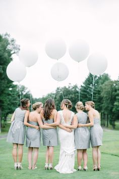 Wedding balloons to match the bridesmaids: http://www.stylemepretty.com/collection/2307/