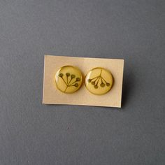 Yellow Tilia Stud Earrings #christmasgift #gift #earring #yellow #botanical