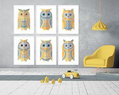 Nursery Wall Art, Nursery Decor, Room Decor, Wall Art Sets, Wall Art Prints, Turquoise Wall Art, Scandinavian Nursery, Yellow Nursery, Black And White Posters