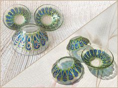 RichanaDragon     MEDITERRANEAN. Small glass bowls (candle holders), decorated in the Mediterranean style with blue and green colors. Hand painted stained glass.     ○ SIZE: size: 7.5 (diam.) x 3 (hgt.) cm / 2.95 (diam.) x 1.18 (hgt.) inch ○ NET WEIGHT: 70 g/ 0.154 lb