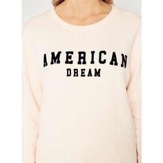 Miss Selfridge Nude American Dream Sweatshirt ($34) ❤ liked on Polyvore featuring tops, hoodies, sweatshirts, nude, long sleeve scoop neck top, jersey top, scoopneck top, pink jersey and long sleeve jersey