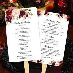 Wedding Program Fan Romantic Blossoms Burgundy, Red, Blush Pink, Marsala