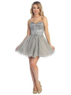 15488bee574f Fancy Jewel Accented A Line Grey Prom Tulle Short Dress Vestidos