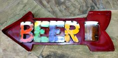 Rustic Metal 3D Red and Multi Beer Arrow Sign  www.gugonline.com