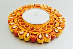 Quilled Candle Holder Orange And Red Candle Holder by KRAFTALLEY