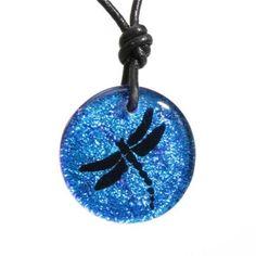 Dragonfly Charm Dichroic Glass Pendant Glass Jewelry