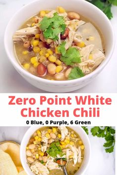 Zero Point Weight Watchers Chicken Chili is packed with chicken breast beans corn and uses store-bought green salsa to make a super delicious and spicy broth. Make it in your slow cooker Instant Pot or stovetop. Weight Watcher Dinners, Plats Weight Watchers, Weight Watchers Meal Plans, Weight Watchers Diet, Weight Watchers Chicken, Weight Watchers Freezer Meals, Weight Watchers Points, Ww Recipes, Soup Recipes