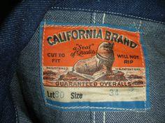 vintage workwear: Vintage CALIFORNIA BRAND denim