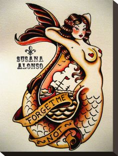 mermaid print (sailor jerry tattoo style)