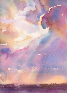 Silver Lining Cloudy Sunset Watercolor Signed by YevgeniaWatts, $15.00