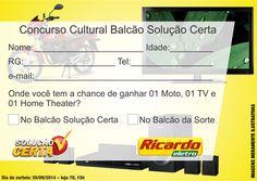 Cupom para ´´Concurso Cultural`` promovido pela Ricardo Eletro para clientes do Balcão Solução Certa. (Com regulamento no verso).