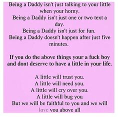 Please read this. Daddy Dom Little Girl, Little My, All You Need Is Love, Give It To Me, Ddlg Quotes, Spank Me, Puppy Play, Baby Quotes, Meaningful Words