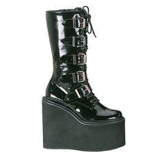 Demonia SWING-220 Gothic Black Buckle Platform Boots - Demonia Shoes