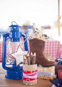 Savvy Styled Sessions & Events: Half Birthday at the Ranch! cowboy centerpiece @Beth Obermeyer - Lizzie Bee Photography