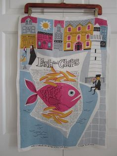 Vintage Towel Fish and Chips MCM by NeatoKeen on Etsy, $42.00