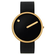 The Picto watch is a Danish design classic that aims to capture a picture of time. Its black dial is paired with a black mesh strap which further higlights its gold-finished case.    #blackandgold #Danishdesign #luxurywatches #metalstrap