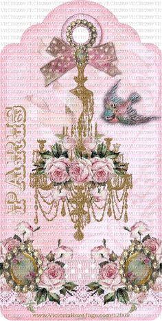 Exclusive & Original Hang Tags Paris Romance You Print-Tags, original, pink, roses, Victorian, Vintage, Lady,Paris, Chandelier Available at VictoriaRoseTags.com
