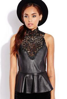 Posh Lace Peplum Top https://picvpic.com/women-tops-blouses-shirts/2000107986-posh-lace-peplum-top#black?ref=QA8LwA