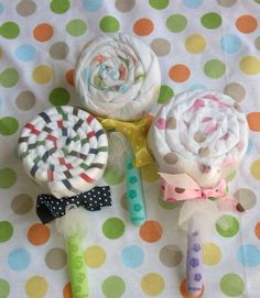 lollipop receiving blanket and spoons, perfect to add to a baby shower gift.